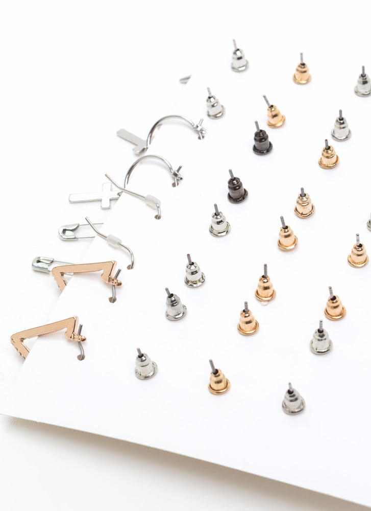 Sweet Sixteen Safety Pin Earring Set GOLD