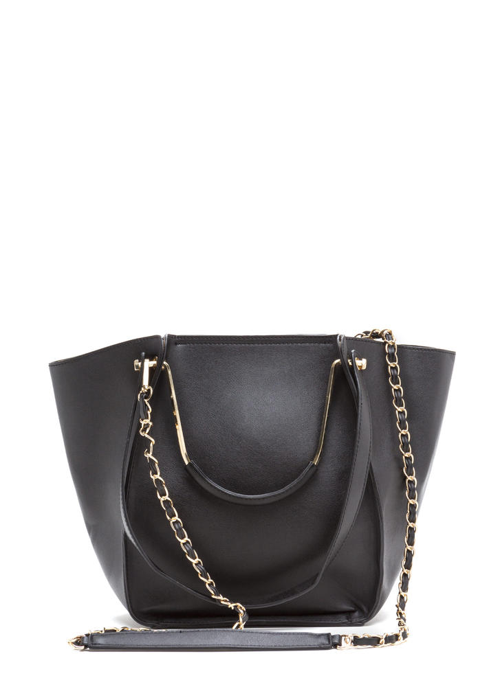 Do It All Oversized Faux Leather Tote BLACK