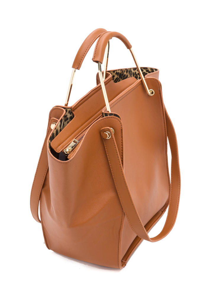 Do It All Oversized Faux Leather Tote COGNAC