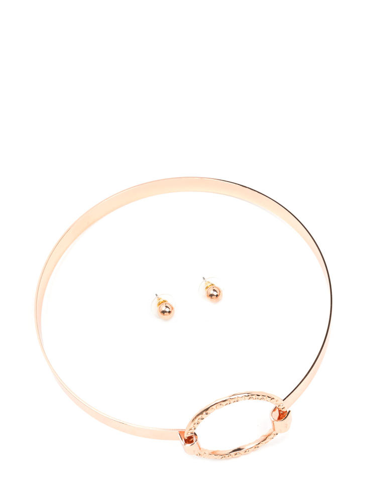 Outer Circle Metal Choker Set ROSEGOLD