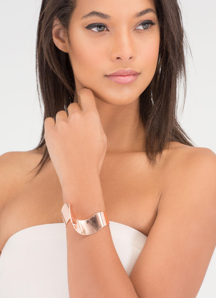 Another Dimension Shiny Abstract Cuff ROSEGOLD