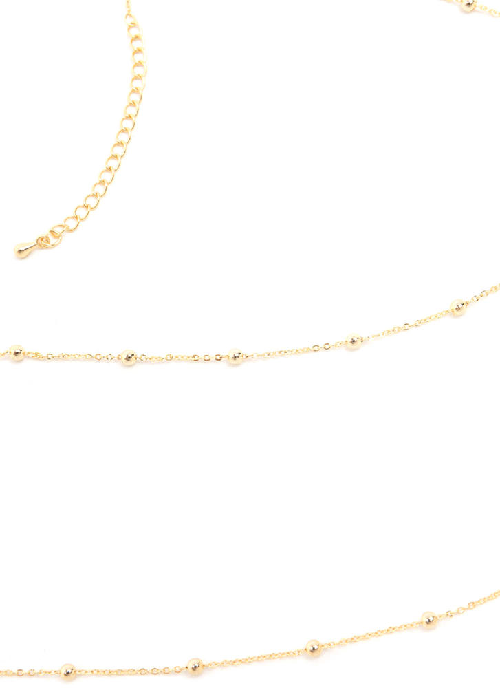 Ball And Chain Studded Necklace GOLD