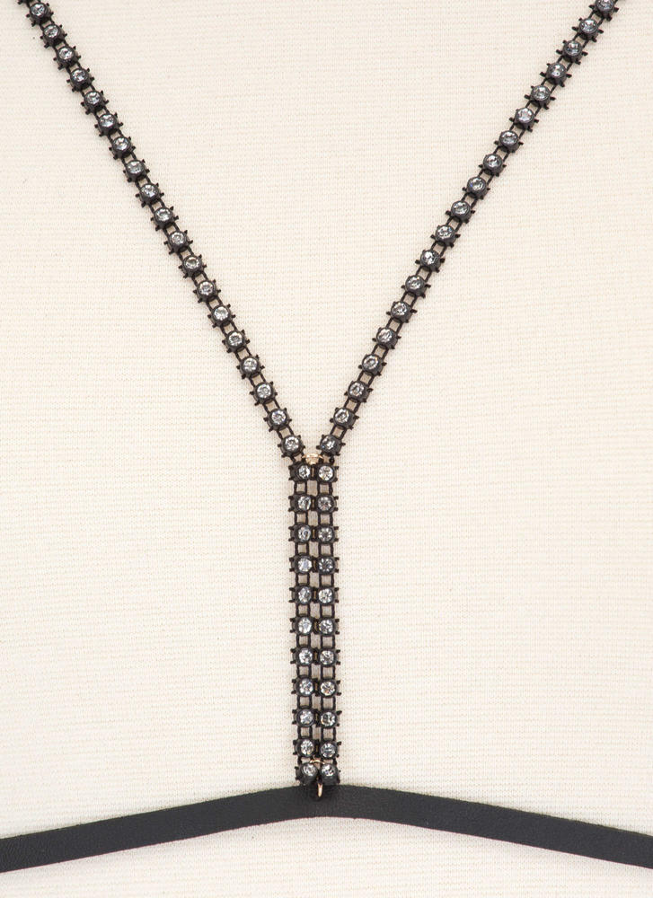 Striking Look Faux Leather Jeweled Body Chain BLACK