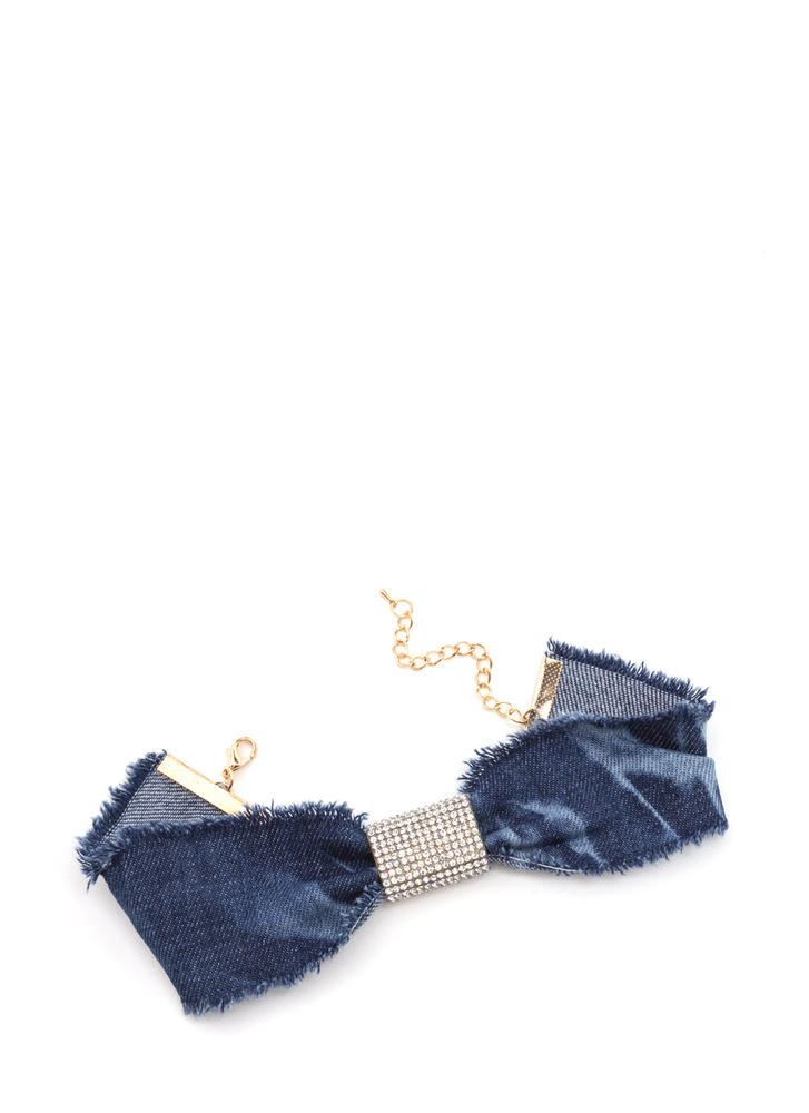 Bow Jane Distressed Denim Choker