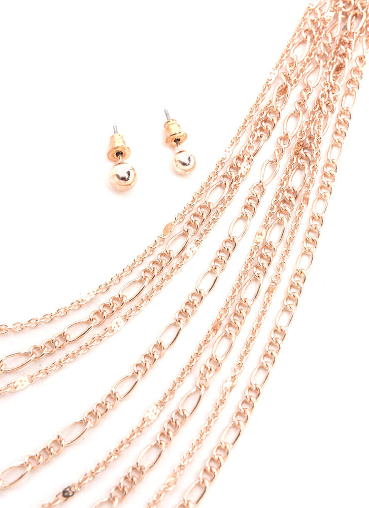 Chains Of Love Layered Necklace Set ROSEGOLD