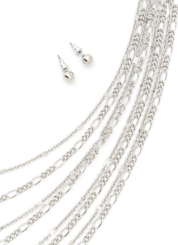 Chains Of Love Layered Necklace Set SILVER