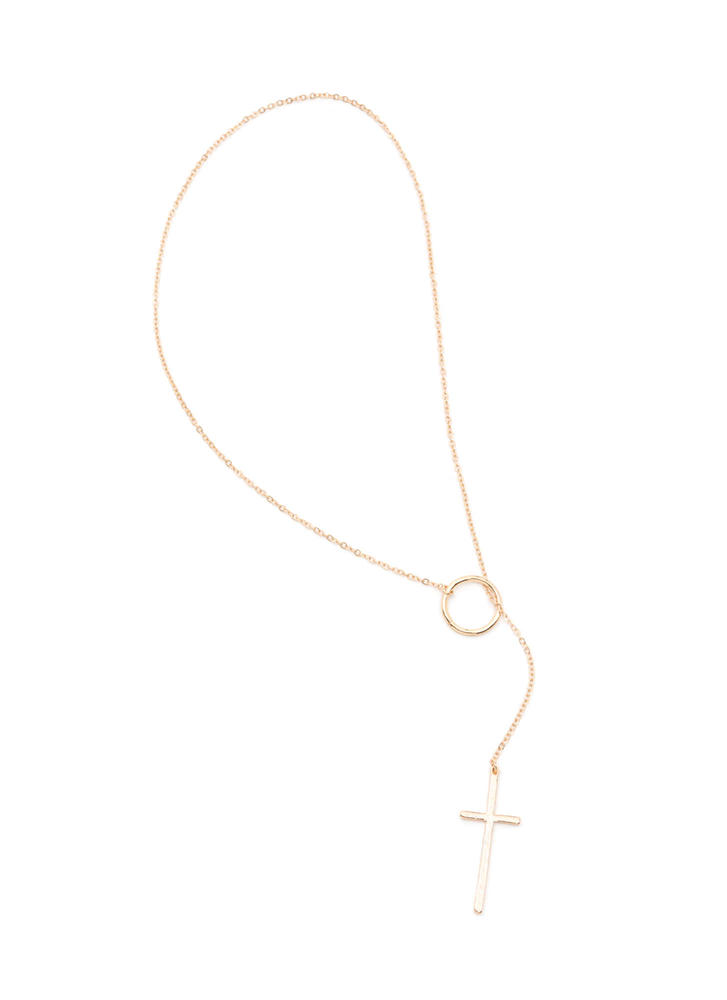 Lady Cross Charm Lariat Necklace