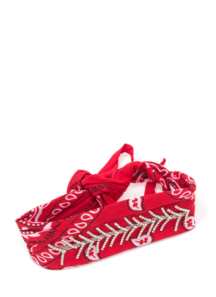 Wishbone Jeweled Bandana Print Choker RED