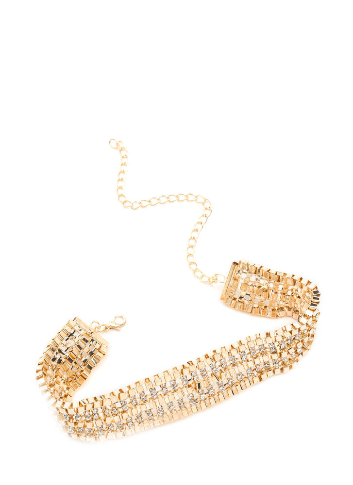 Box It Up Rhinestone Chain Choker