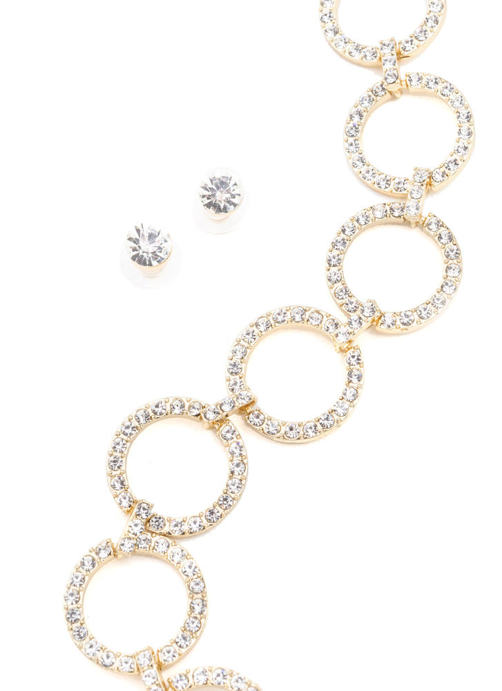 Ring Together Faux Jewel Necklace Set GOLD
