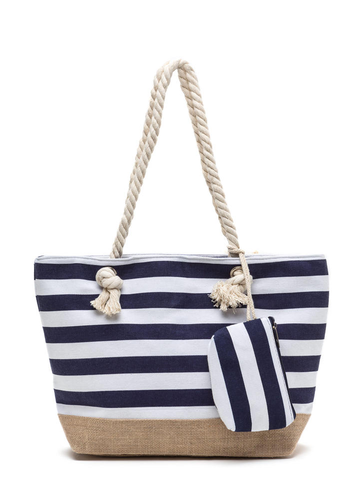 Sail Away Striped Woven Tote Bag