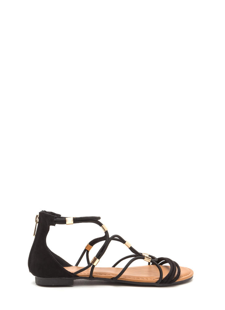 Totally Cord Caged Faux Suede Sandals