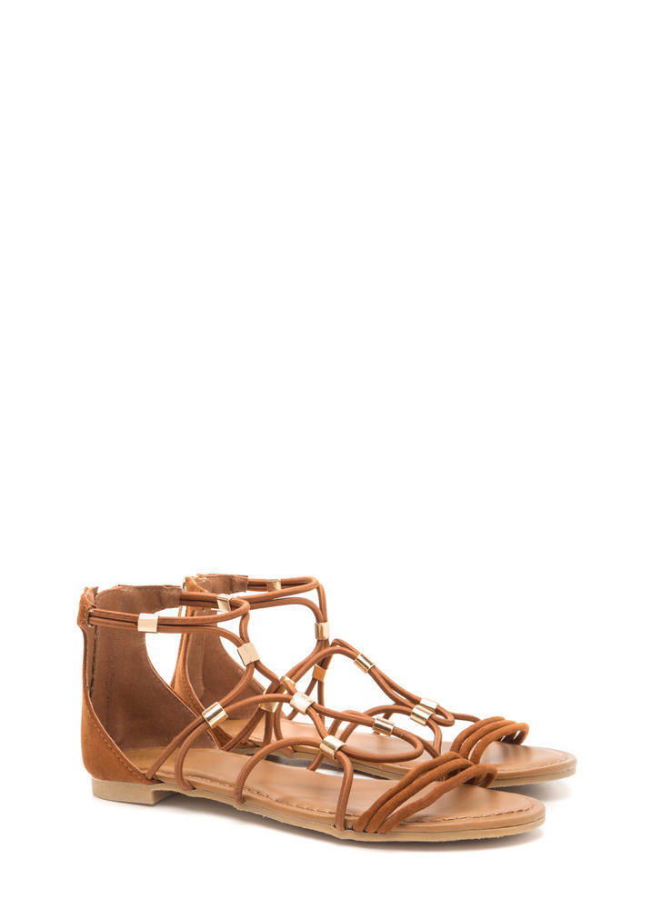 Totally Cord Caged Faux Suede Sandals CHESTNUT