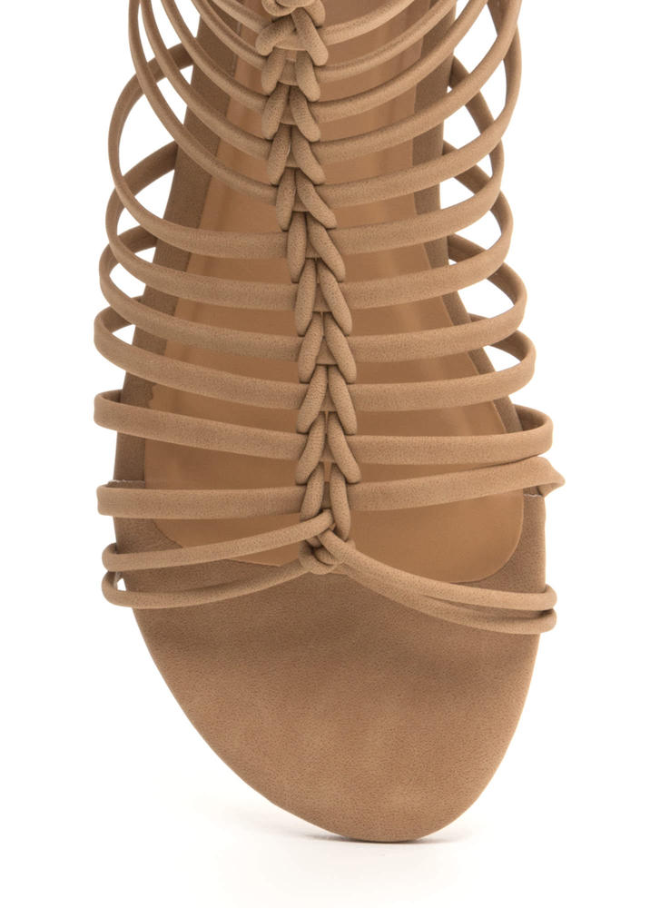 Ladder To The Top Faux Nubuck Sandals NATURAL