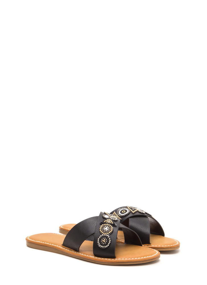 So X-cited Beaded Crisscross Sandals BLACK