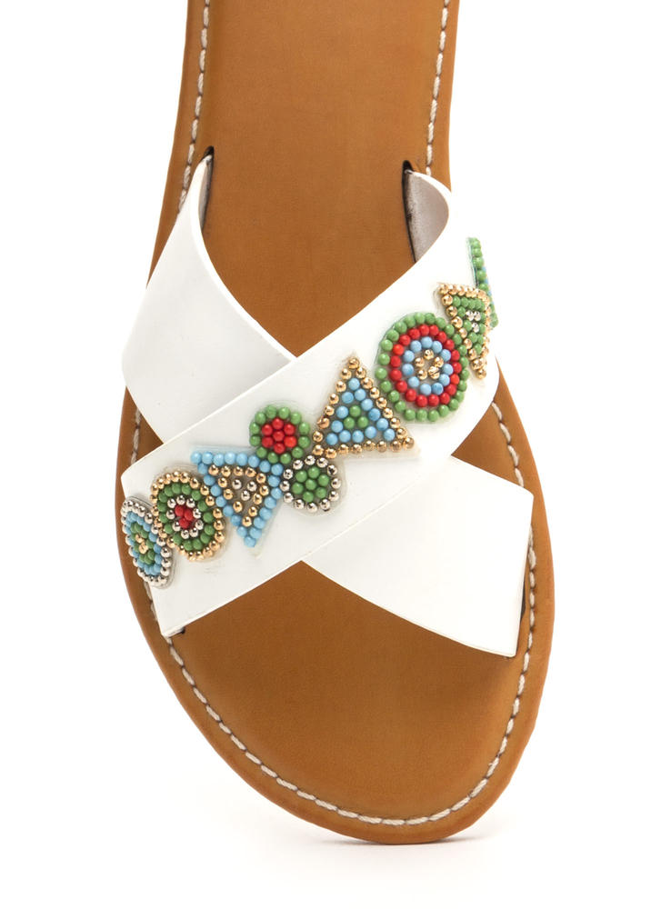 So X-cited Beaded Crisscross Sandals WHITE