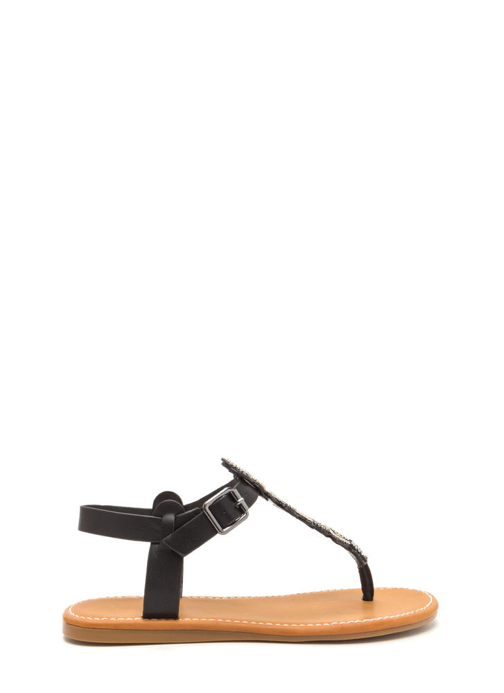 Bead It Faux Leather T-Strap Sandals