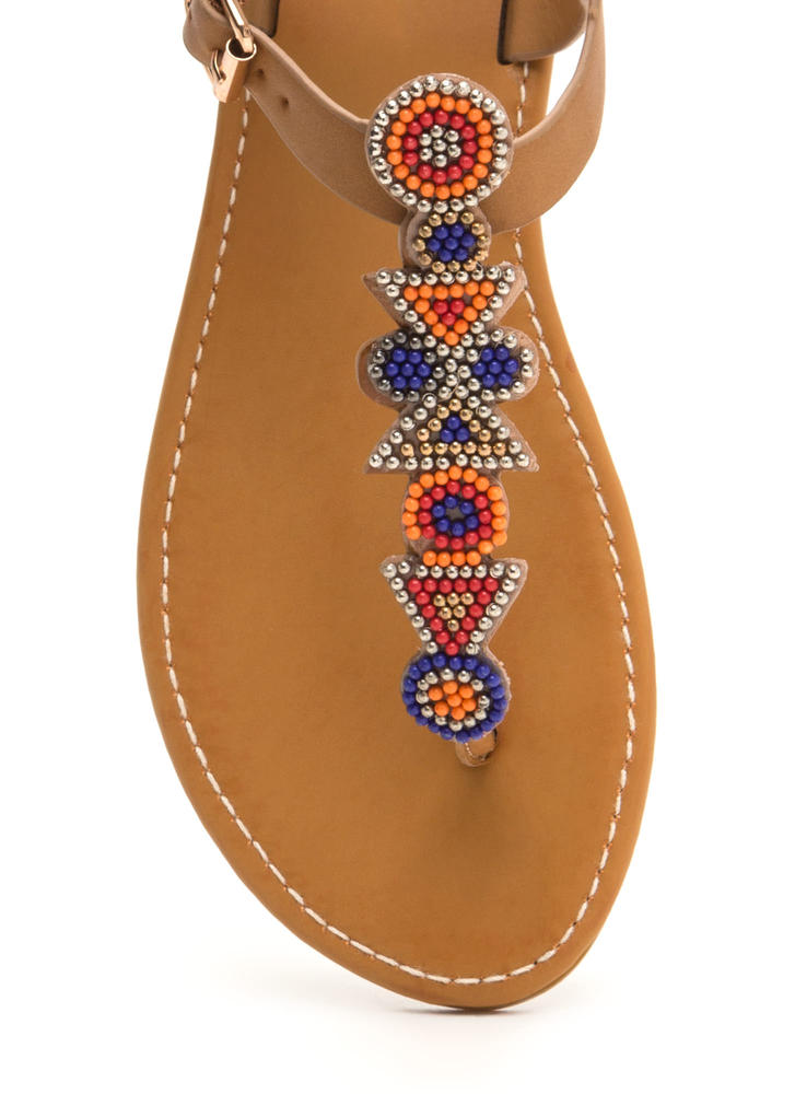 Bead It Faux Leather T-Strap Sandals NATURAL
