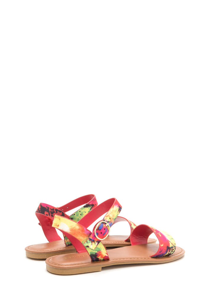 Chic About It Strappy Floral Sandals REDMULTI
