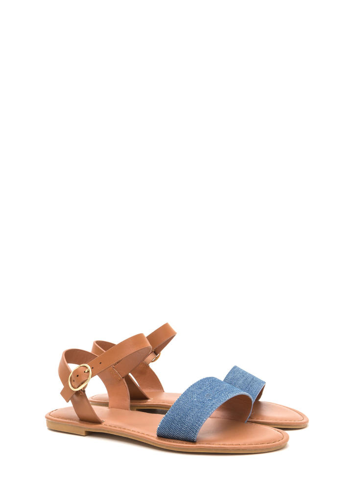 Chic About It Denim Mixed Media Sandals BLUE