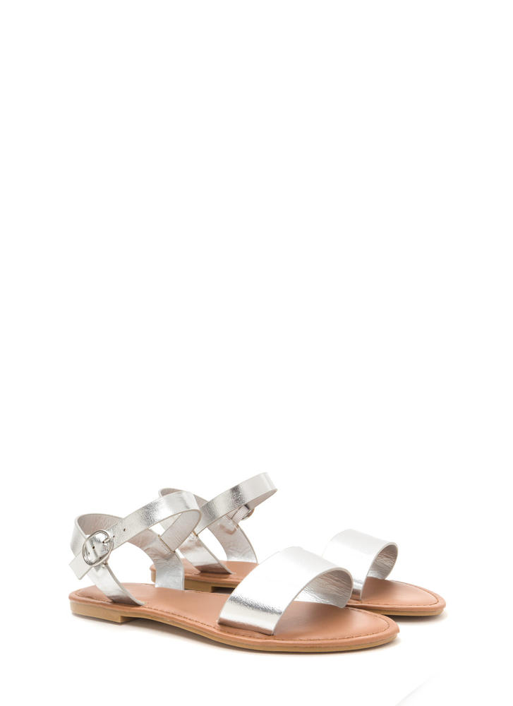 Chic About It Strappy Metallic Sandals SILVER
