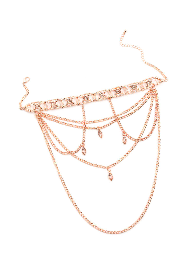 Glitz And Glam Draped Faux Jewel Choker