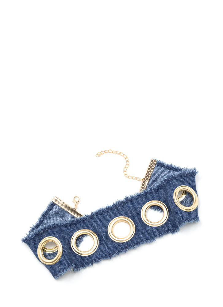 Hole-some Wide Denim Choker BLUEGOLD