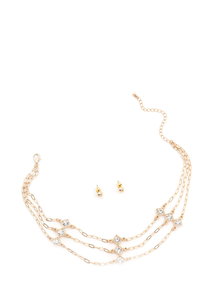 Three Spirit Jeweled Chain Choker Set