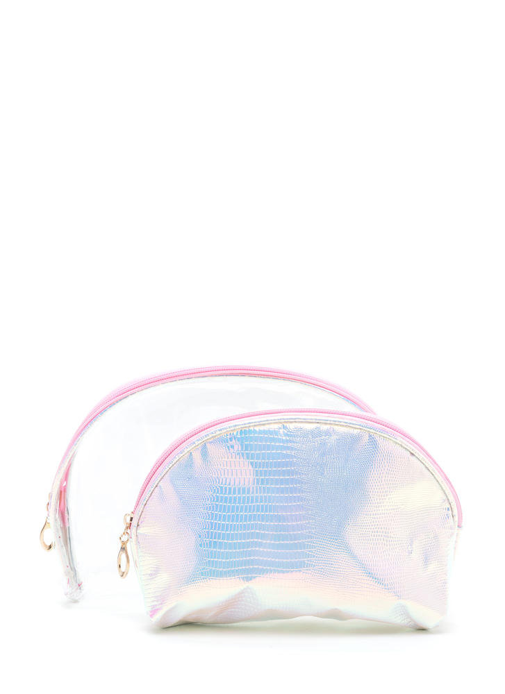 Clear Need Faux Snakeskin Pouch Set