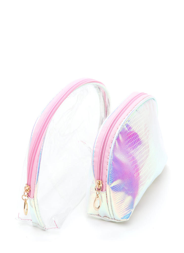 Clear Need Faux Snakeskin Pouch Set PINK