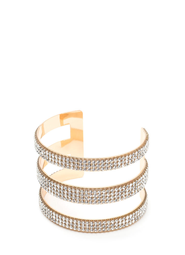 Triple Threat Cut-Out Rhinestone Cuff