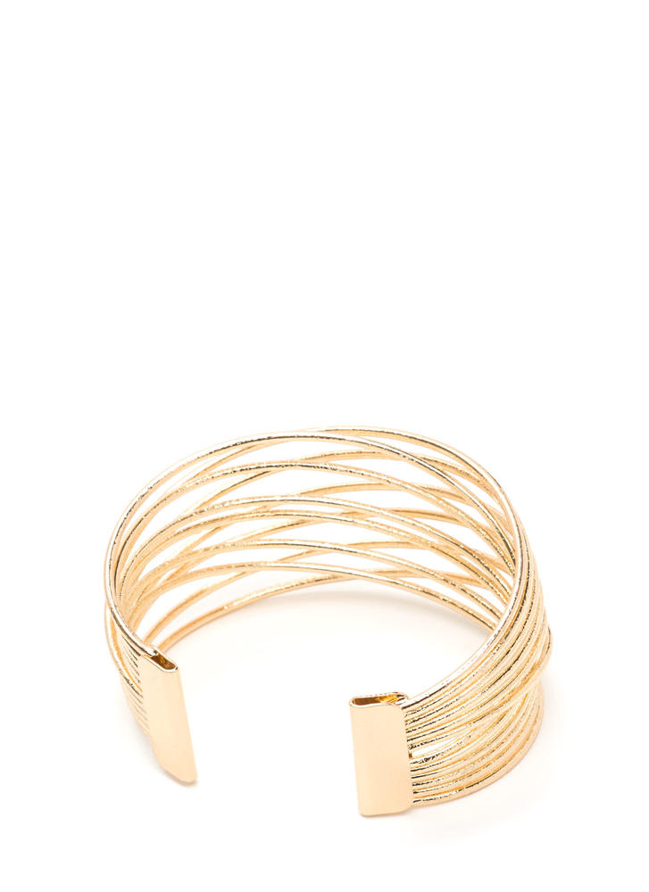Wrap Superstar Overlapping Wire Cuff GOLD