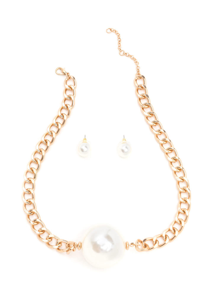 Go Big Faux Pearl Chain Necklace Set