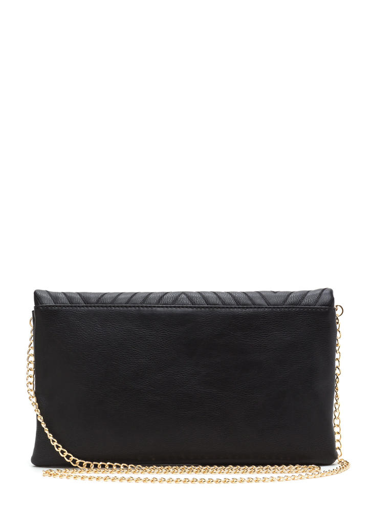 New Direction Zigzag Quilted Clutch BLACK