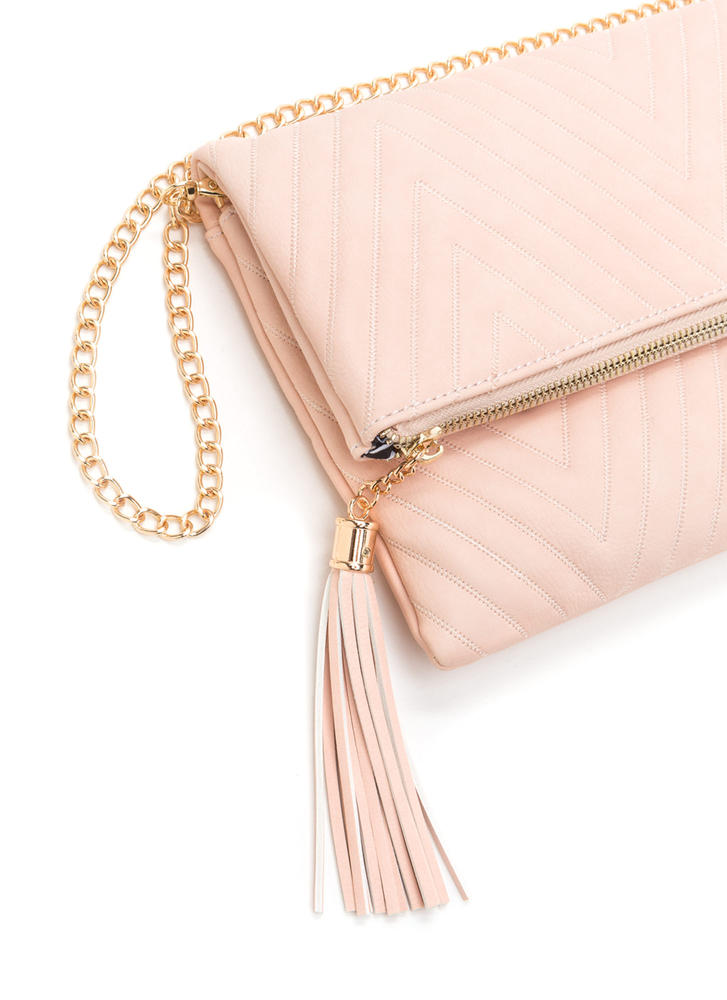New Direction Zigzag Quilted Clutch PINK