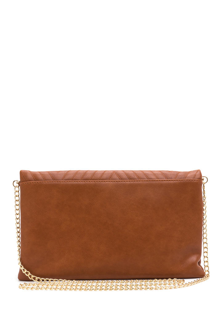 New Direction Zigzag Quilted Clutch TAN