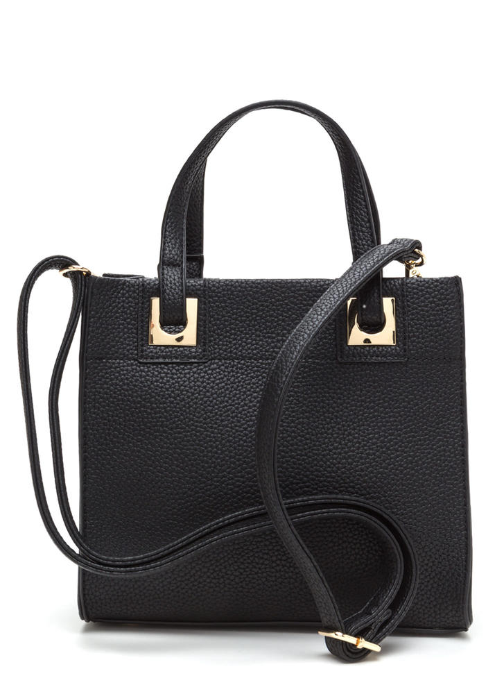 Work Wear Chic Faux Leather Tote Bag BLACK