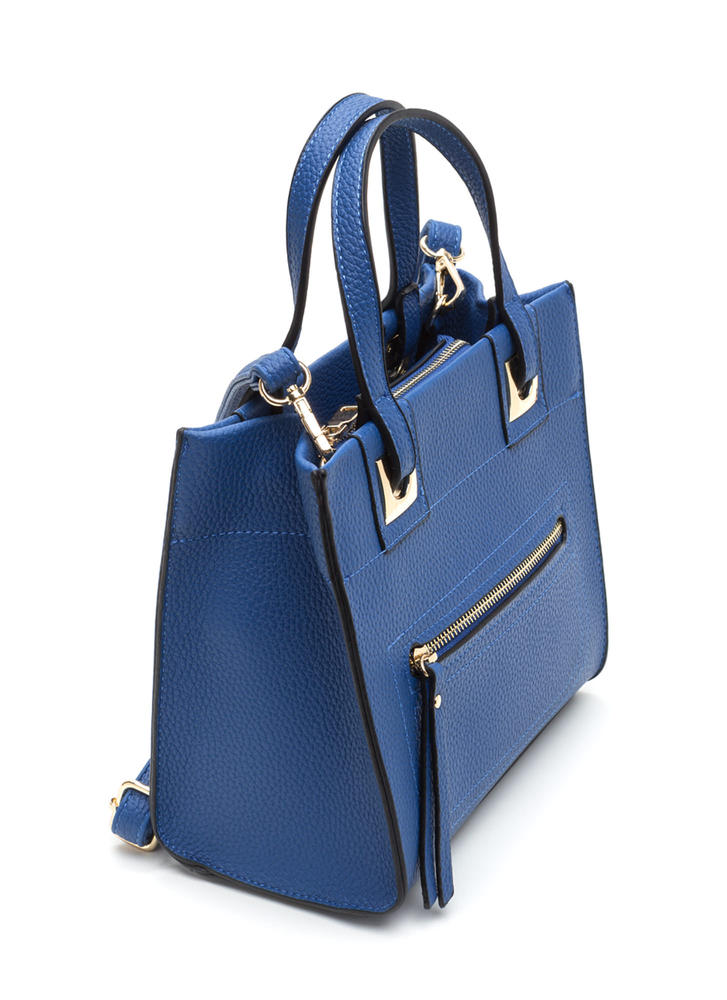 Work Wear Chic Faux Leather Tote Bag BLUE