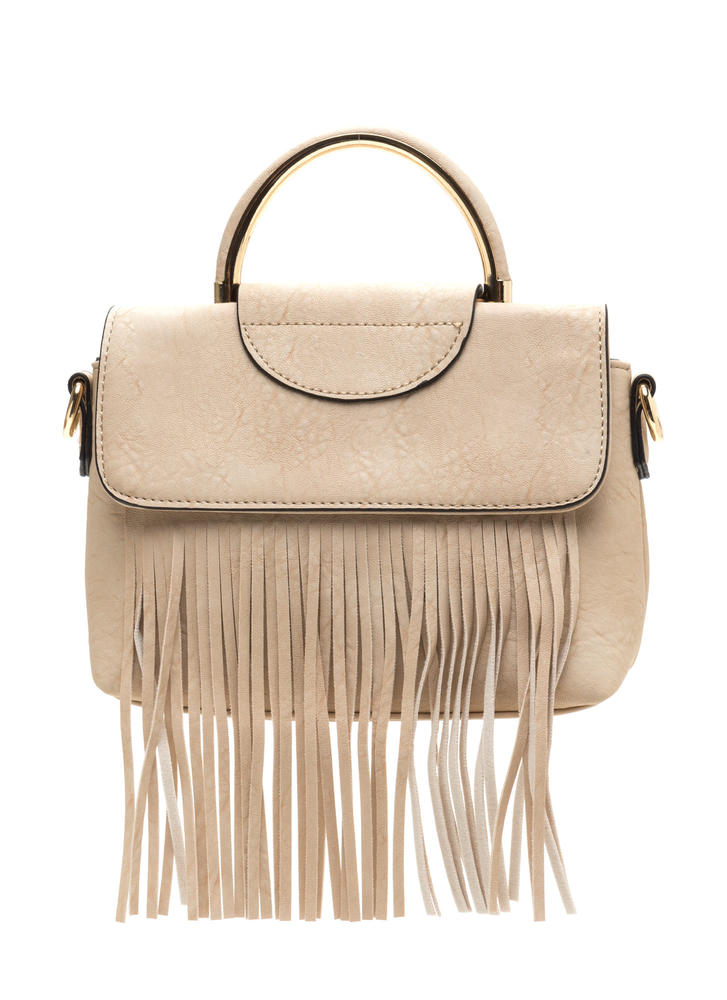 Fancy Fringe Faux Leather Bag BEIGE