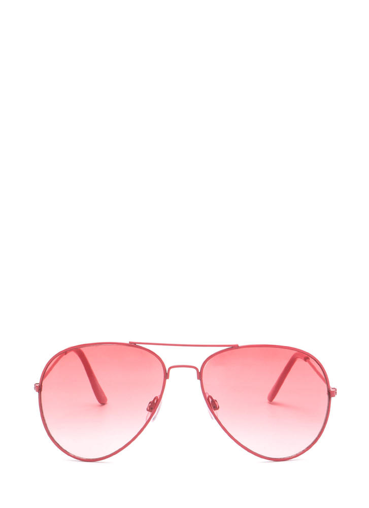 Color Pop Tinted Aviator Sunglasses RED