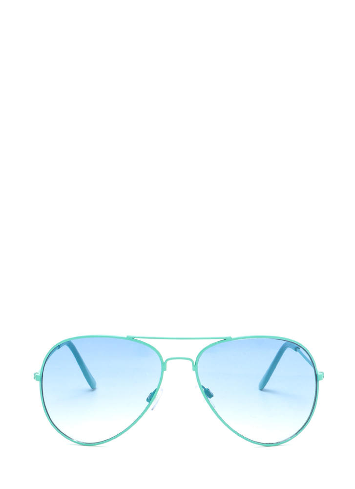 Color Pop Tinted Aviator Sunglasses TURQUOISE