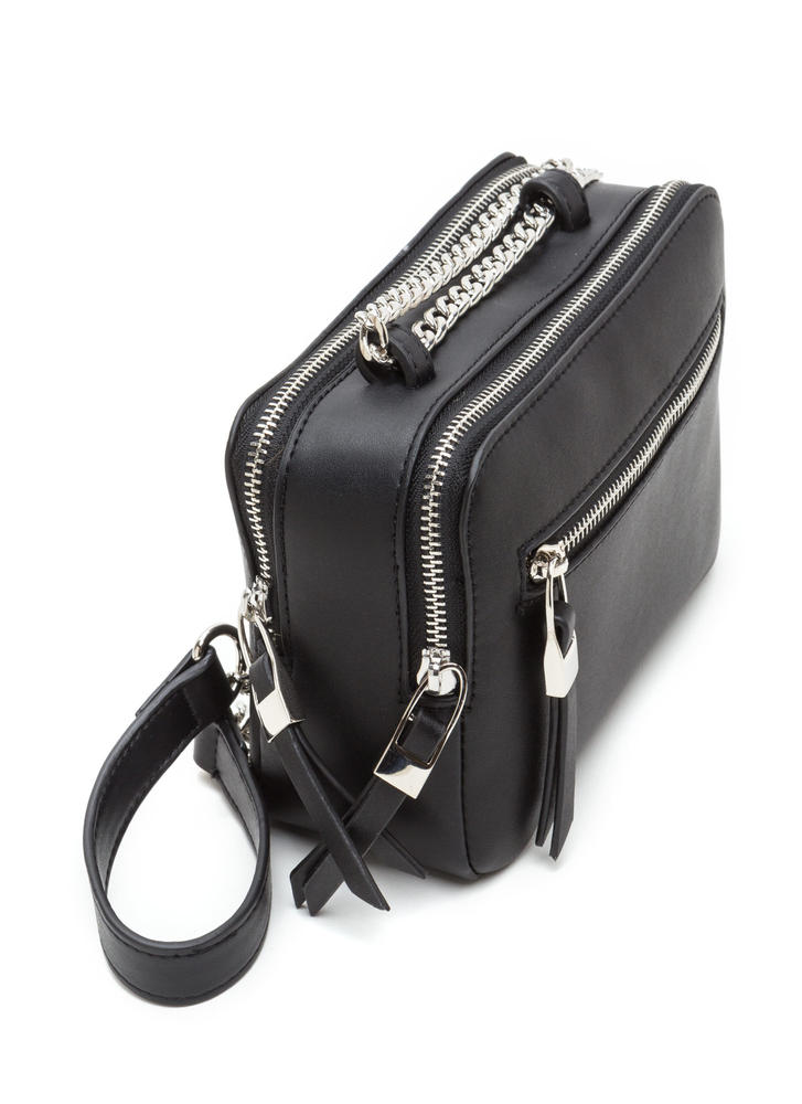 Total Package Faux Leather Crossbody Bag BLACK