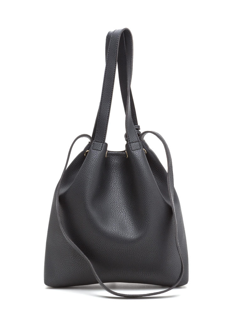 Complete Package Faux Leather Bucket Bag BLACK