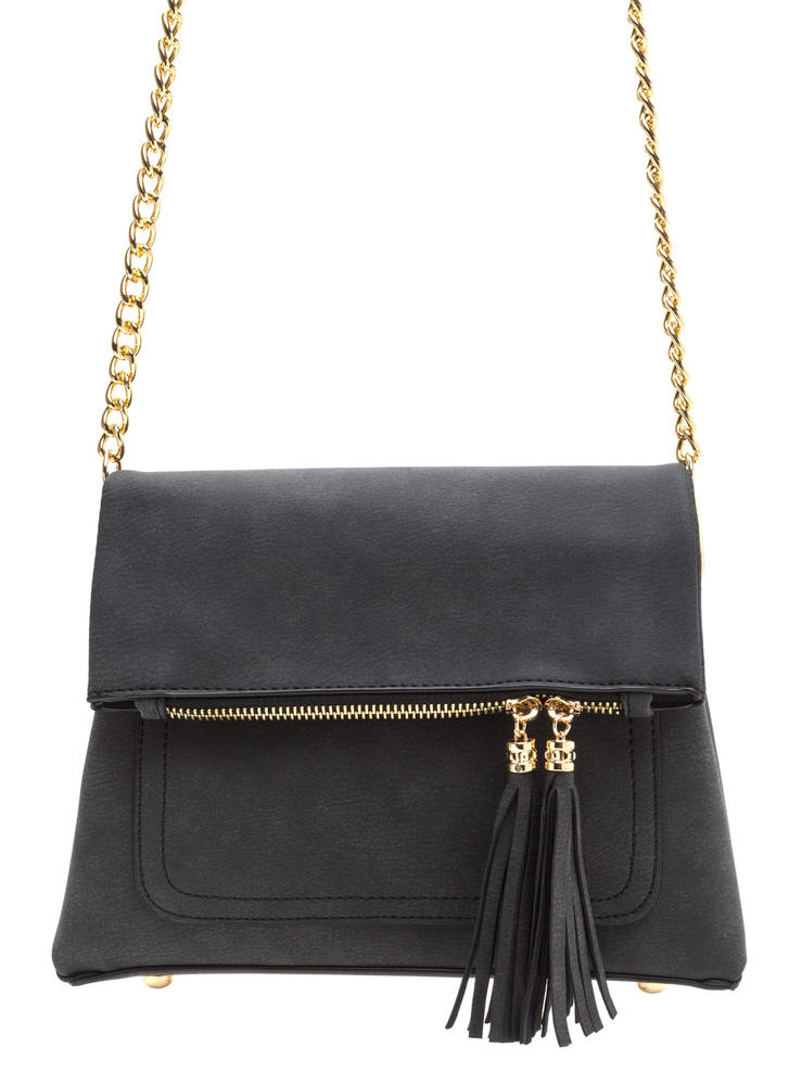 Two Cute Tasseled Trapeze Crossbody Bag