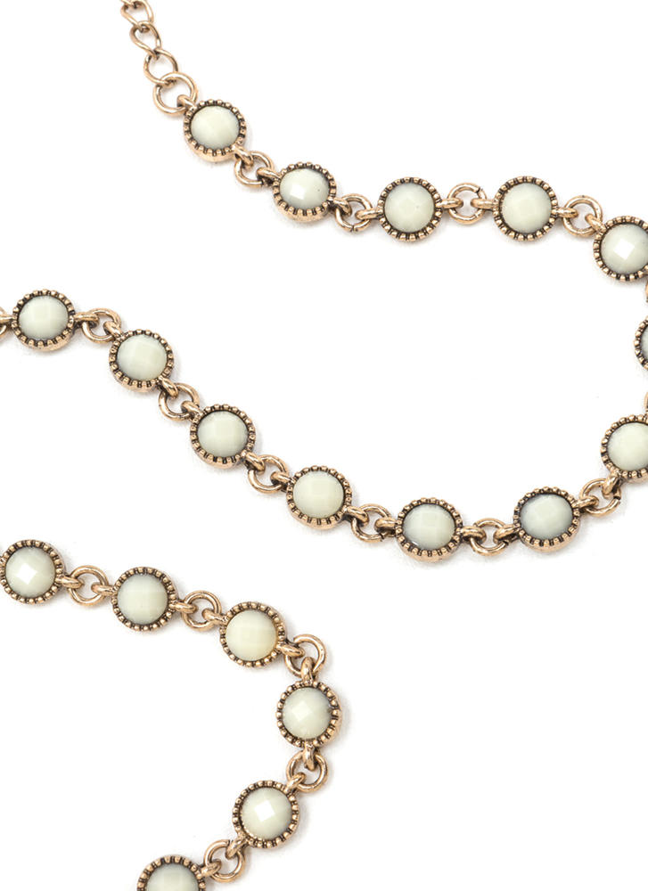 Dainty Choice Faux Stone Necklace IVORYGOLD