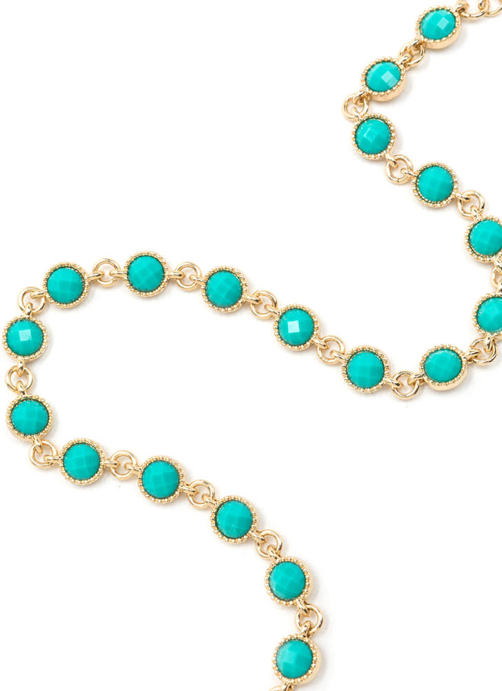 Dainty Choice Faux Stone Necklace TURQGOLD