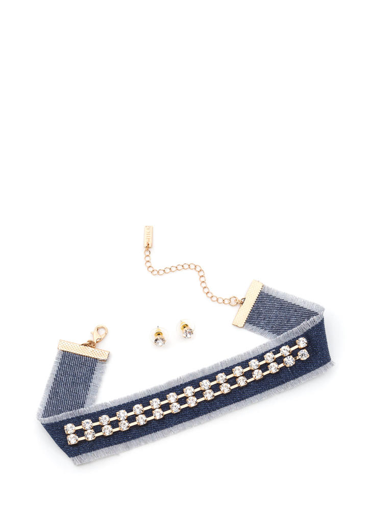 Delightful Denim Faux Jewel Choker Set