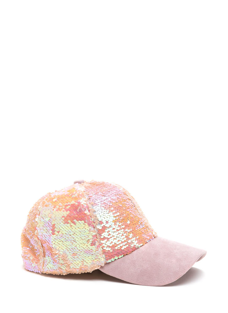 Take It From The Top Sequined Cap PINK