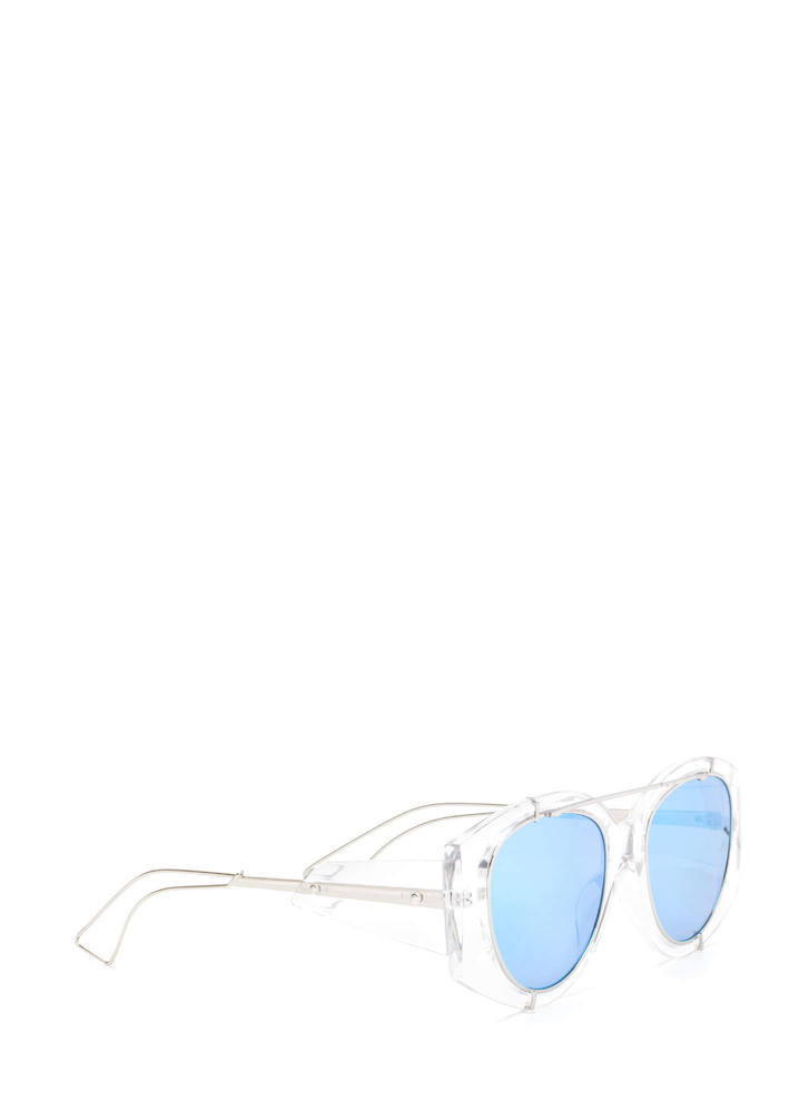 Miami Vibes Clear Mirrored Sunglasses BLUE