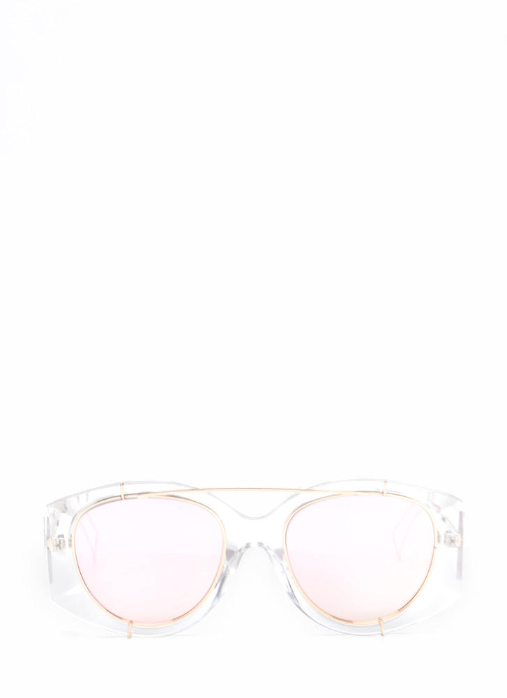 Miami Vibes Clear Mirrored Sunglasses PINK